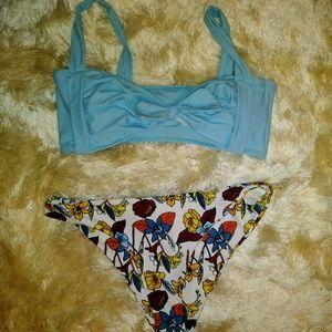 NWOT blue floral bow bikini fits L/XL cute